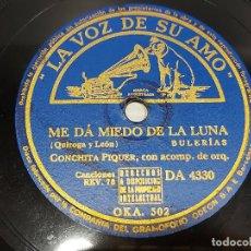 Discos de pizarra: PIZARRA !! CONCHITA PIQUER / ME DA MIEDO LA LUNA-ZAPATITOS DE CHAROL / LA VOZ DE SU AMO / 25 CM.. Lote 276665848
