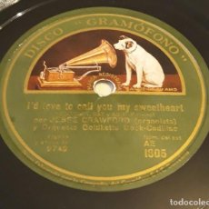 Discos de pizarra: PIZARRA 78 RPM. SELLO: DISCO GRAMÓFONO AE 1805. J.CRAWFORD Y ORQUESTA GOLDKETTE BOOK CADILLAC. Lote 277088078