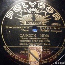 Discos de pizarra: DISCO DE PIZARRA POLYDOR - LA CAPRICHOSA, OP. 17 - CANCIÓN INDIA - VASA PRIHODA, CARLOS CERNÉ -. Lote 277290663