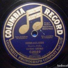 Discos de pizarra: DISCO DE PIZARRA COLUMBIA RECORD - C 2022 - A PALERMO - GUIDO DEIRO - BERSAGLIERI. Lote 277296483