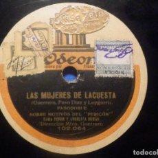 Discos de pizarra: DISCO DE PIZARRA ODEON - LAS MUJERES DE LA CUESTA - FOX DE LOS ABANICOS - SARA FENOR. ANGELITA DURÁN. Lote 277296733