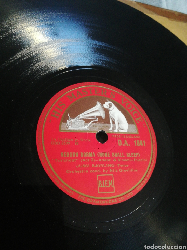 DISCO 78RPM JUSSI BJÓRLING - NESSUN DORMA / LA MATTINATA (Música - Discos - Pizarra - Clásica, Ópera, Zarzuela y Marchas)