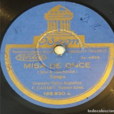 Discos de pizarra: PIZARRA. 78 RPM. ODEON. 182.830 A/B. ORQUESTA TIPICA ARGENTINA F. CANARO. MISA DE ONCE - MARGARITAS. Lote 277538608