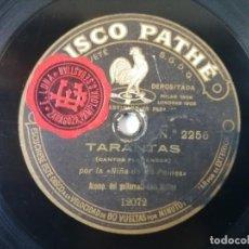 Discos de pizarra: NIÑA DE LOS PEINES - TARANTAS / TANGO DE LA TONTONA, CANTOS FLAMENCOS - PATHÉ 2256. Lote 278593513