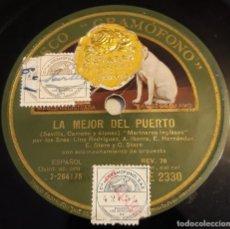 Discos de pizarra: PIZARRA. 78 RPM. DISCO GRAMÓFONO AE 2330. LA MEJOR DEL PUERTO - MARINEROS INGLESES / TANGO GAUCHO. Lote 279416383