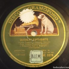 Discos de pizarra: PIZARRA. 78 RPM. DISCO GRAMÓFONO AE 3379.TRIO ARGENTINO IRUSTA. QUISIERA ESCRIBIRTE / MISA DE ONCE. Lote 279417788