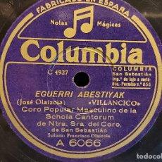Discos de pizarra: CORO POPULAR MASCULINO SCHOLA CANTORUM SAN SEBASTIÁN / COLUMBIA - 25 CMS / BUENA CALIDAD. LEER. Lote 279444728