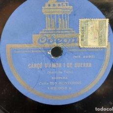 Discos de pizarra: PIZARRA !! COBLA ELS MONTGRINS / CANÇÓ D'AMOR I DE GUERRA - MERCENETA / ODEON - 25 CM.. Lote 279590983