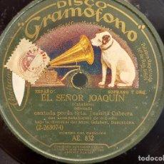 Discos de pizarra: PIZARRA !! JUANITA CABRERA Y SR PARRA / EL SEÑOR JOAQUIN / DISCO GRAMÓFONO - 25 CM.. Lote 279592118