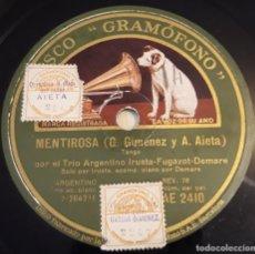 Discos de pizarra: PIZARRA. 78 RPM. DISCO GRAMÓFONO AE 2410. TRIO ARGENTINO IRUSTA. MENTIROSA / MADRE MÍA. Lote 280406868