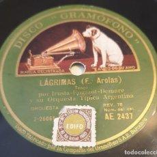 Discos de pizarra: PIZARRA 78 RPM. DISCO GRAMÓFONO AE 2437. TRIO ARGENTINO IRUSTA...LAGRIMAS / MUCHACHOS ME CASO. Lote 283712108