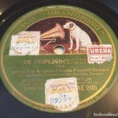 Discos de pizarra: PIZARRA 78 RPM. DISCO GRAMÓFONO AE 2101. TRIO ARGENTINO IRUSTA...UN TROPEZÓN / DANDY. Lote 283713128