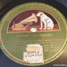 Discos de pizarra: PIZARRA 78 RPM. DISCO GRAMÓFONO AE 2105. TRIO ARGENTINO IRUSTA... ILUSIÓN / LA CIEGUITA. Lote 283713998