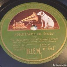 Disques en gomme-laque: PIZARRA 78 RPM. DISCO GRAMÓFONO AE 2249. TRIO ARGENTINO IRUSTA. AMURADO / PERICÓN NACIONAL ARGENTINO. Lote 283716243