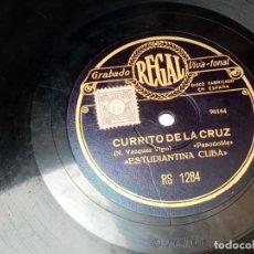 Discos de pizarra: DISCO PIZARRA-ESTUDIANTINA CUBA-PASODOBLE CURRITO DE LA CRUZ Y PASODOBLE UZCUDUN. Lote 286188128