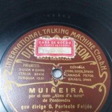 Disques en gomme-laque: SOLO DE GAITA. MUÑEIRA. AIRES DA TERRA DE PONTEVEDRA DIRIGE PERFECTO FEIJÓO. Lote 286734598