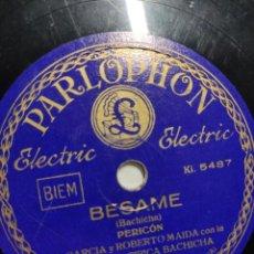 Discos de pizarra: DISCO PIZARRA N. GARCIA Y ROBERTO MAIDA CON LA ORQUESTA TÍPICA BACHICHA - AVELLANEDA Y BÉSAME. Lote 286912368