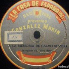Disques en gomme-laque: LA CASA DE ESPAÑA. INC. NEW YORK PRESENTA GONZAÑEZ MARÍN, LOS CAMPANILLEROS, LA MEMORIA CALVO SOTELO. Lote 287912203