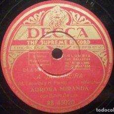 Discos de pizarra: PIZARRA DECCA RB 45020 - AURORA MIRANDA - CIDADE MARAVILHOSA, A JARDINEIRA. Lote 287916928