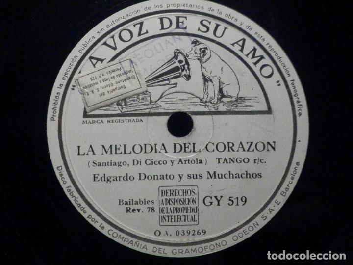 PIZARRA LA VOZ DE SU AMO GY 51 - OSVALDO FRESEDO - ESTA NOCHE - EDGARDO DONATO, MELODIA DEL CORAZÓN (Música - Discos - Pizarra - Solistas Melódicos y Bailables)