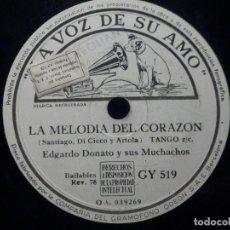 Discos de pizarra: PIZARRA LA VOZ DE SU AMO GY 51 - OSVALDO FRESEDO - ESTA NOCHE - EDGARDO DONATO, MELODIA DEL CORAZÓN. Lote 288361303