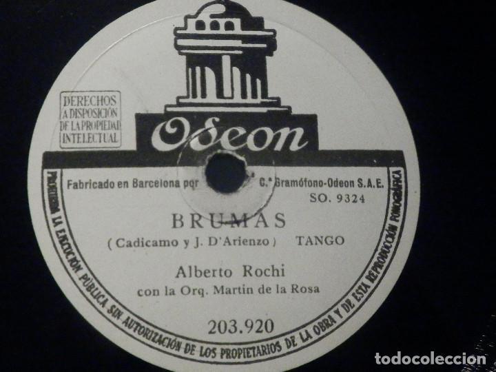 PIZARRA ODEON 203.920 - ALBERTO ROCHI - APASIONADAMENTE - BRUMAS (Música - Discos - Pizarra - Solistas Melódicos y Bailables)