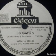 Discos de pizarra: PIZARRA ODEON 203.920 - ALBERTO ROCHI - APASIONADAMENTE - BRUMAS. Lote 288369253