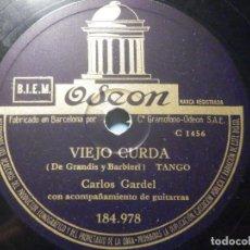 Discos de pizarra: PIZARRA ODEON 184.978 - CARLOS GARDEL - CARTAS VIEJAS - VIEJO CURDA. Lote 288369593