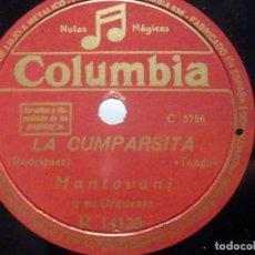 Discos de pizarra: PIZARRA COLUMBIA R 14128 - MONTOVANI - CELOS - LA CUMPARSITA. Lote 288372938
