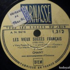 Discos de pizarra: PIZARRA PARNASSE A.N. 2476 - TOUS LES SUCCES DU JOUR - CHANT - LES VIEUX SUCCES FRANCAIS -. Lote 288374923