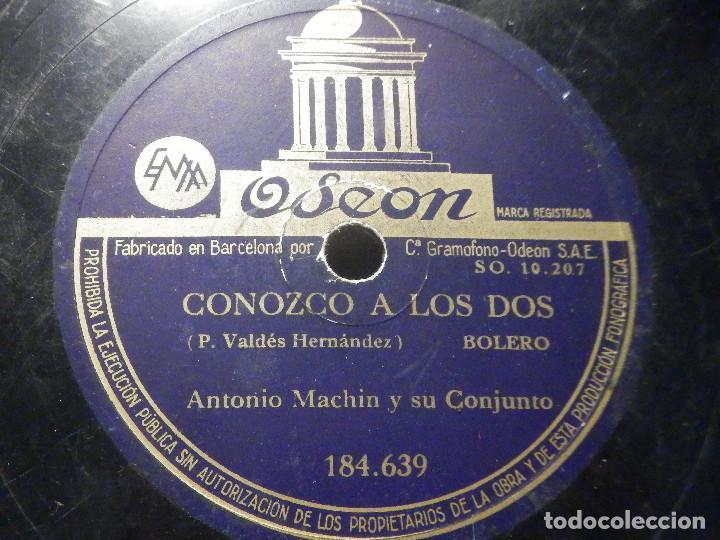 PIZARRA ODEÓN 184.639 - ANTONIO MACHIN - CONOZCO A LOS DOS - CIEN FLORES BLANCAS (Música - Discos - Pizarra - Bandas Sonoras y Actores )