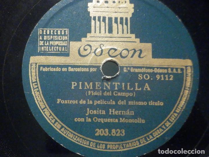 PIZARRA ODEÓN 203.823 - JOSITA HERNÁN - PIMENTILLA - A LA LUZ DE LA LUNA (Música - Discos - Pizarra - Bandas Sonoras y Actores )