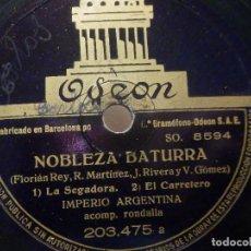 Discos de pizarra: PIZARRA ODEÓN 203.475 - IMPERIO ARGENTINA - BOBLEZA BATURRA, LA SEGADORA, EL CARRETERO, BIEN SE VE. Lote 288397513