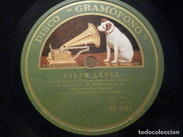 PIZARRA GRAMÓFONO AE 3065 - JEANETTE MACDONALD - LA MARCHA DE LOS GRANADEROS - DREAM LOVER (Música - Discos - Pizarra - Bandas Sonoras y Actores )