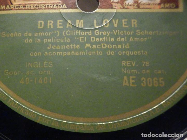 Discos de pizarra: PIZARRA Gramófono AE 3065 - Jeanette Macdonald - La Marcha de los granaderos - Dream Lover - Foto 2 - 288398488