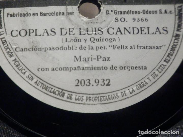 Discos de pizarra: PIZARRA Odeon 203.932 - Mari Paz - Coplas de Luis Candelas - Estanis Tarin, Chispera de mi corazón - Foto 3 - 288401853