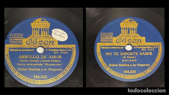 PIZARRA !! RAFAEL MEDINA / ARRULLO DE AMOR-NO TE IMPORTE SABER / ODEON / 25 CM / BUEN ESTADO. (Música - Discos - Pizarra - Bandas Sonoras y Actores )
