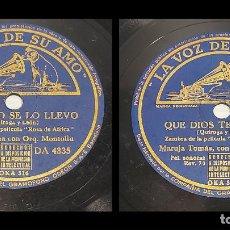 Discos de pizarra: PIZARRA !! RAFAEL MEDINA-MARUJA TOMÁS / QUE DIOS TE AMPARE / LA VOZ DE SU AMO / 25 CM / BUEN ESTADO.. Lote 289212653