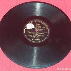Discos de pizarra: DISCO DE PIZARRA - MARINA (ARRIETA) BRINDIS CANTADO POR SR. BEZARES. Lote 289858153
