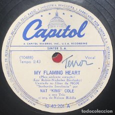 Discos de pizarra: CAPITOL - NAT KING COLE - ILL ALWAYS REMEMBER YOU - MY FLAMING HEART - PELICULA. Lote 291928908