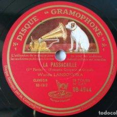 Discos de pizarra: WANDA LANDOWSKA - COUPERIN: PASSACAILLE, 1ER PARTIE / 2º PARTIE - (CLAVECIN). Lote 293306433
