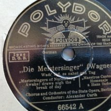 "Discos de pizarra: DIE MEISTERSINGER WAGNER/AIDA VERDI DISCO PIZARRA 78 RPM ÓPERA 12"". Lote 293439748"