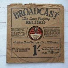 "Discos de pizarra: DISCO 78 RPM DE 10"" BROADCAST - RAMON NEWTON - JAZZ - SONNY BOY - AL JOLSON - PIZARRA UK 1928. Lote 293441138"