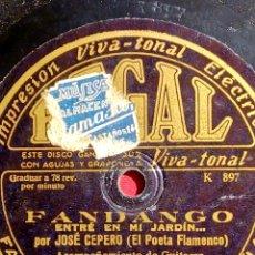 """Discos de pizarra: FANDANGO """"ENTRÉ EN MI JARDÍN"""" JOSÉ CEPERO (EL POETA FLAMENCO). Lote 294039803"""