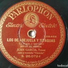 Discos de pizarra: JUAN GARCÍA - LOS DE LA ABEJUELA Y TITAGUAS / DESPACIO Y CALLANDO - NO NECESITAMOS HIMNOS. Lote 294052698