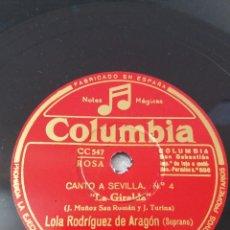 Discos de pizarra: PIANO:TURINA. LOS DOS MIEDOS. CAMPOAMOR, BÉCQUER. TU PUPILA ES AZUL. SOPRANO: LOLA RODRÍGUEZ.. Lote 295752353