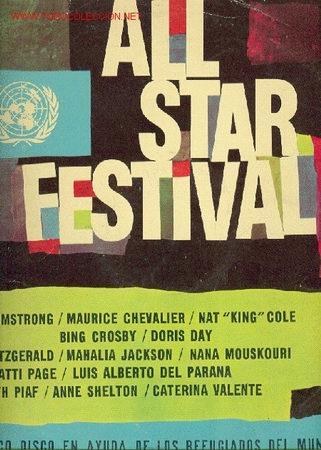 ALL STAR FESTIVAL - LOUIS ARMSTRONG, MAURICE CHEVALIER, NAT KING COLE, BING CROSBY ETC..LP, UNICE (Música - Discos - LP Vinilo - Otros Festivales de la Canción)