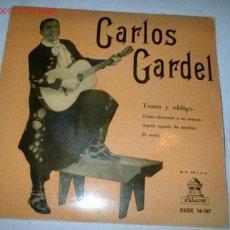 Discos de vinilo: ANTIGUO DISCO SINGLE -CARLOS GARDEL- AÑO 1958.. Lote 683609
