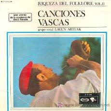 Discos de vinilo: GRUPO VOCAL LAGUN ARTEA - CANCIONES VASCAS. LP EDITADO POR EL SELLO SONOPLAY EN 1.988 XXX. Lote 24014374