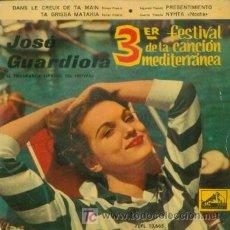 Discos de vinilo: JOSE GUARDIOLA - DANS LE CREUX DE TA MAIN - EP RARO DE VINILO DE 1961. Lote 3549718